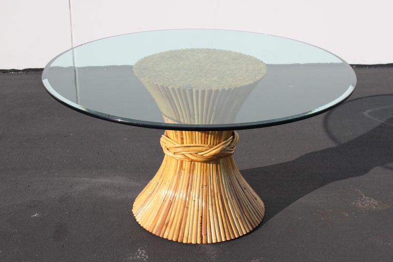 American Vintage McGuire Rattan Sheaf of Wheat Form Dining Table For Sale