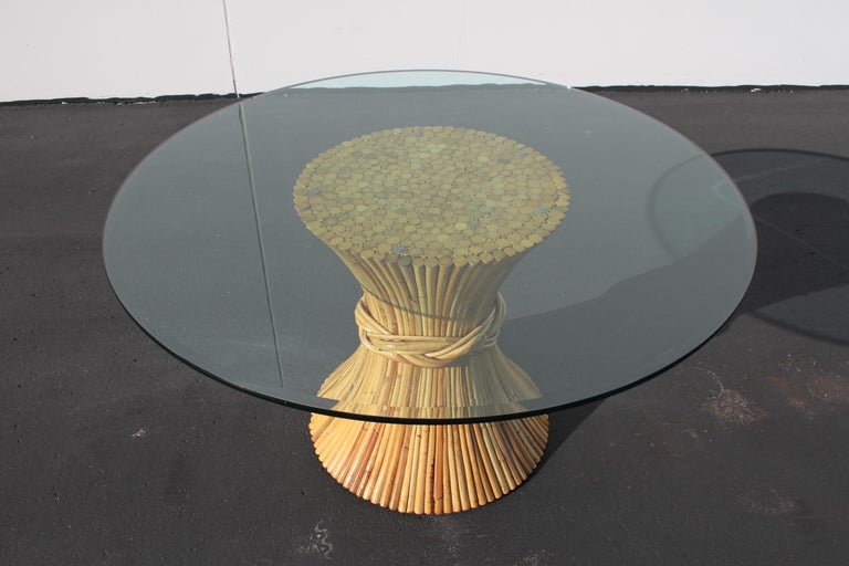 Vintage McGuire Rattan Sheaf of Wheat Form Dining Table For Sale 2