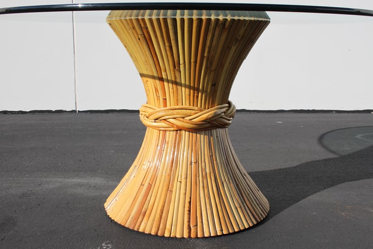 Mid-20th Century Vintage McGuire Rattan Sheaf of Wheat Form Dining Table For Sale