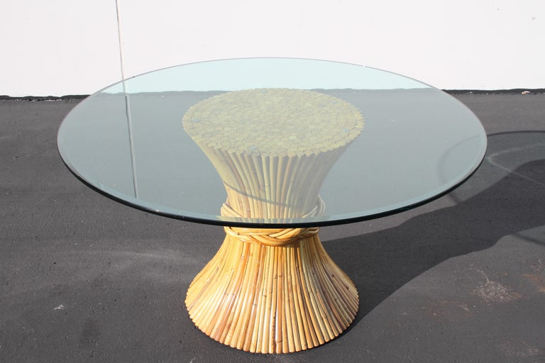 Vintage McGuire Rattan Sheaf of Wheat Form Dining Table For Sale 5