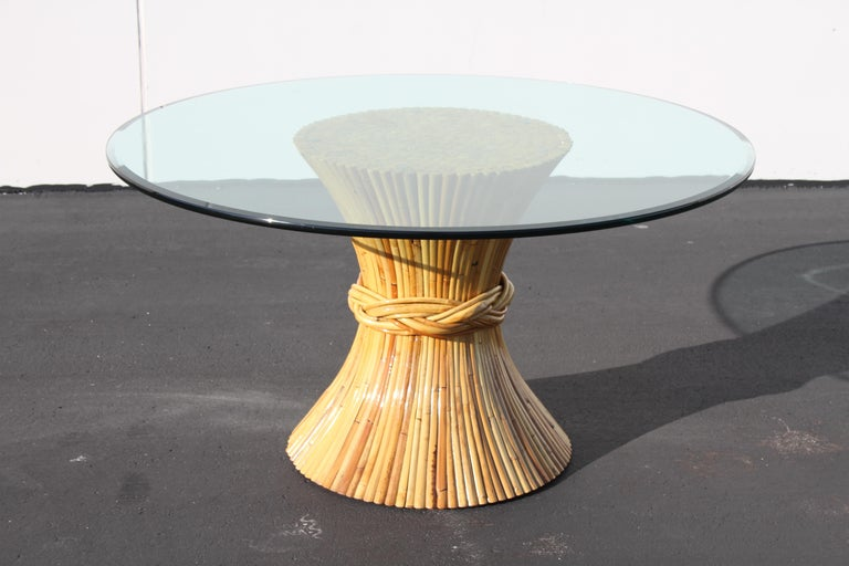 Hollywood Regency Vintage McGuire Rattan Sheaf of Wheat Form Dining Table For Sale