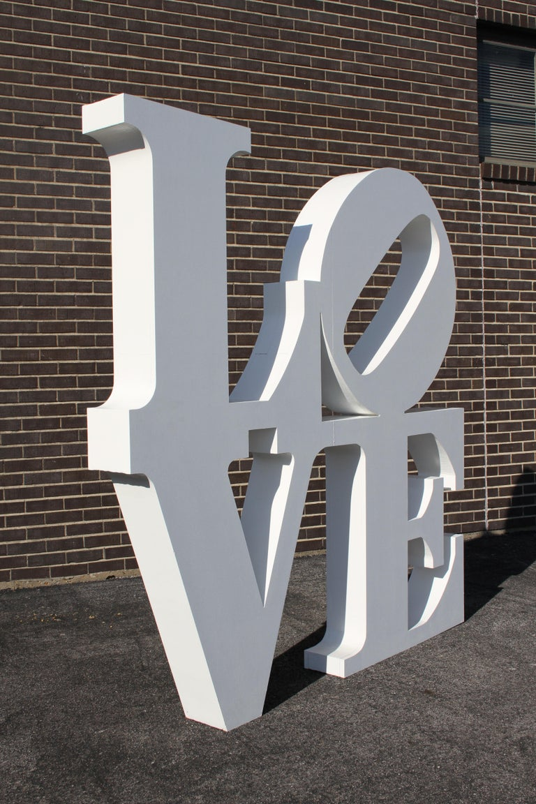 After Robert Indiana iconic large 6' x 6' LOVE pop art sculpture. This sculpture was custom-made for a wedding, can be used as art in a home, display for a store or a prop. It is made of MDF on the outside and rigid foam on the inside. It has been