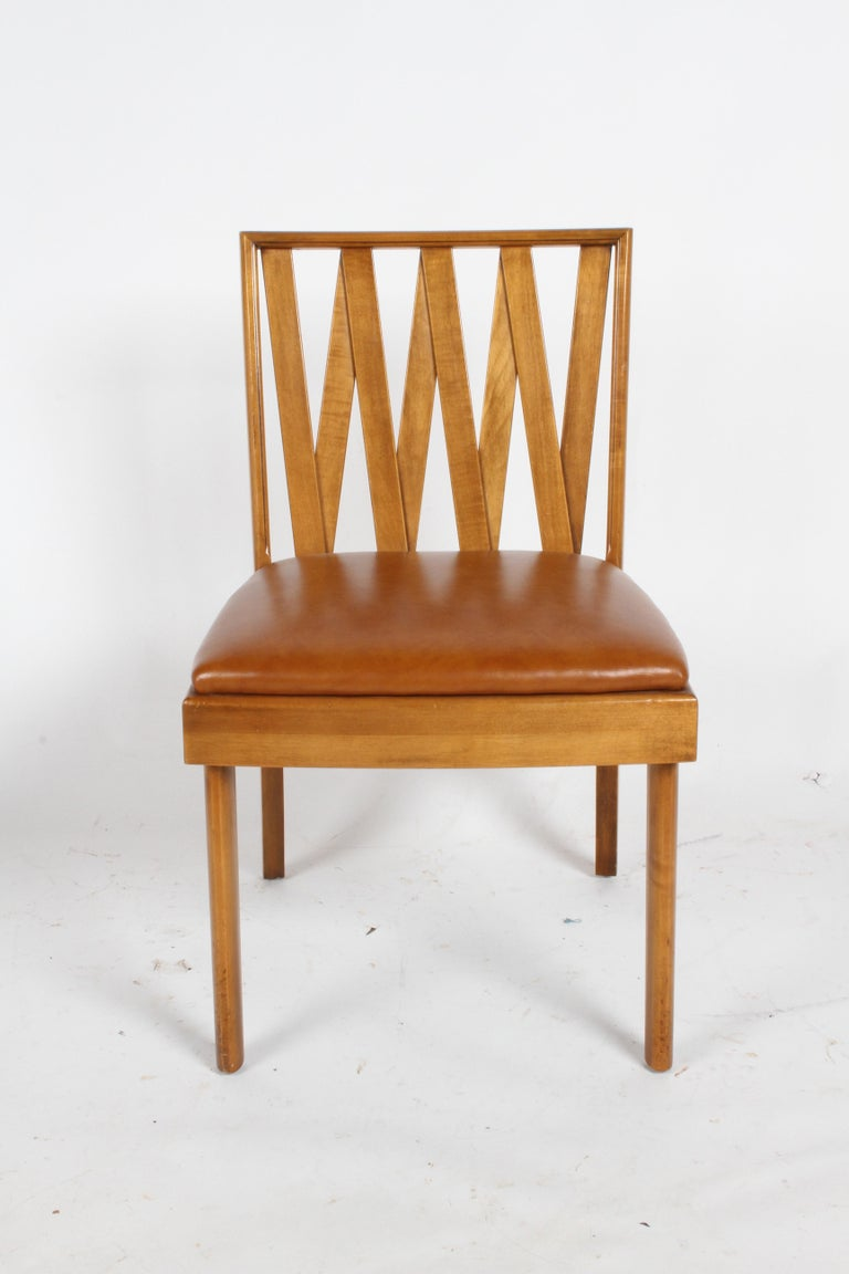 Paul Frankl single side dining or desk chair for Johnson Furniture Co. In original finish and upholstery, from one owner estate.