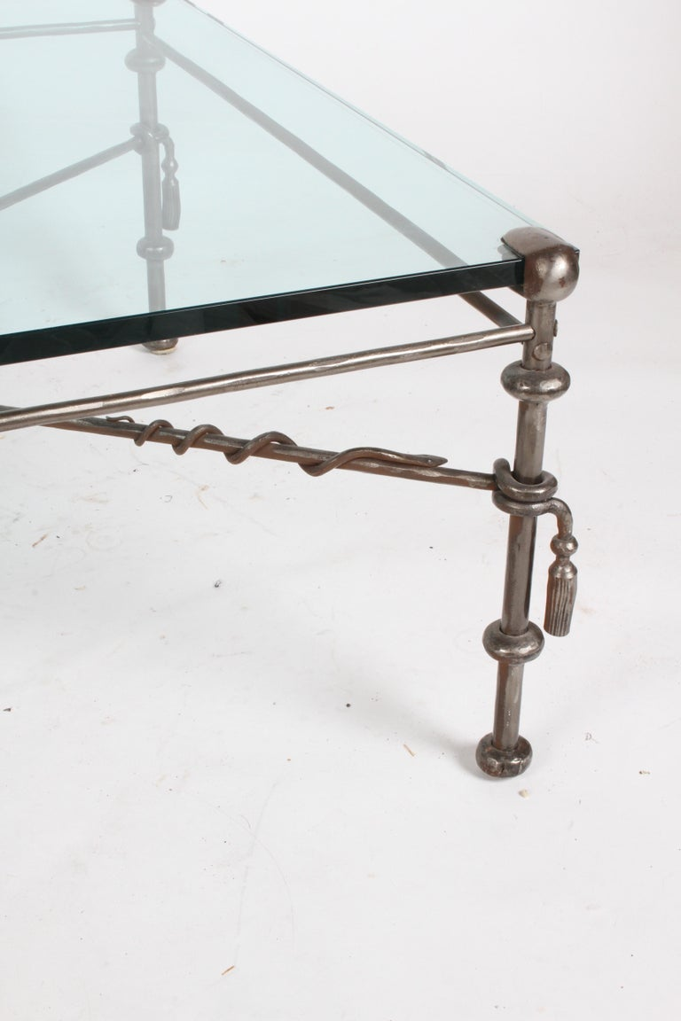After Giacometti hammered wrought iron and glass coffee table, thick 3/4