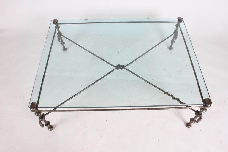 Unknown Giacometti Inspired Wrought Iron & Glass Coffee Table For Sale