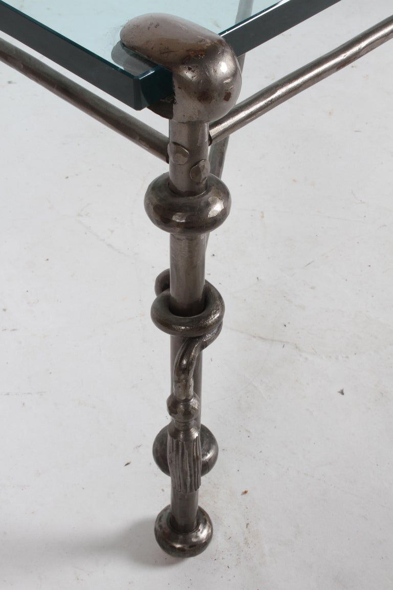 Giacometti Inspired Wrought Iron & Glass Coffee Table For Sale 1