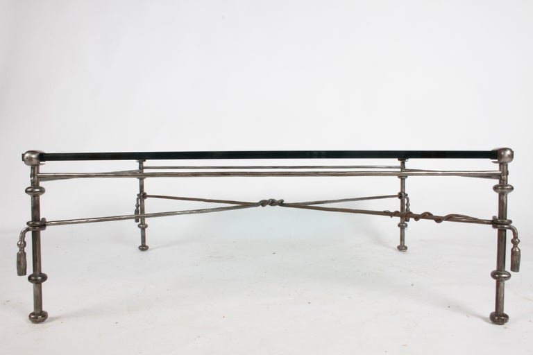 Late 20th Century Giacometti Inspired Wrought Iron & Glass Coffee Table For Sale