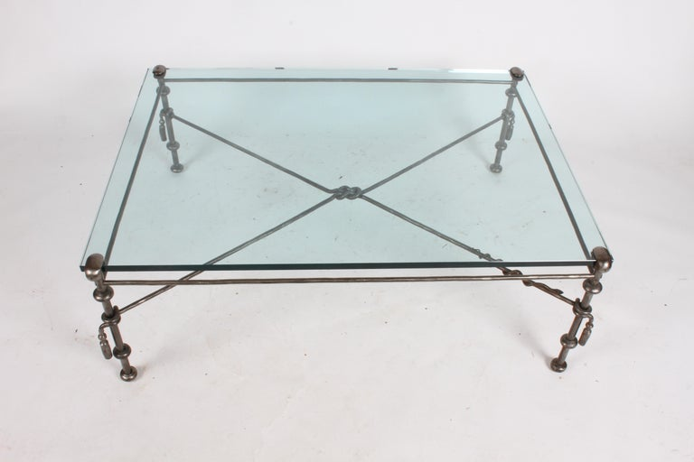 Mid-Century Modern Giacometti Inspired Wrought Iron & Glass Coffee Table For Sale