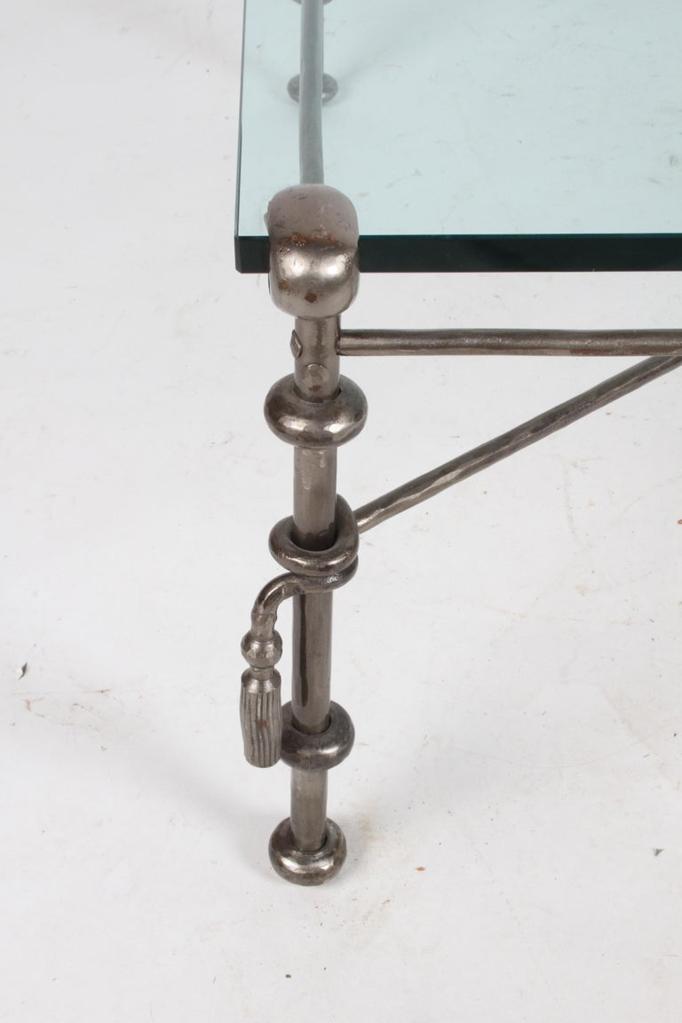 Giacometti Inspired Wrought Iron & Glass Coffee Table In Good Condition For Sale In St. Louis, MO