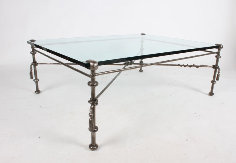 Giacometti Inspired Wrought Iron & Glass Coffee Table For Sale 4