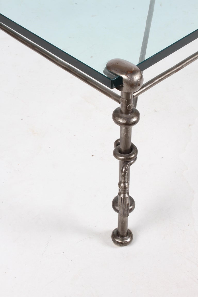 Giacometti Inspired Wrought Iron & Glass Coffee Table For Sale 5