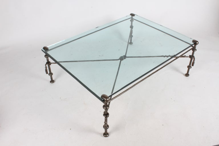 Giacometti Inspired Wrought Iron & Glass Coffee Table For Sale 2