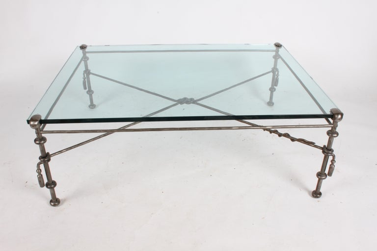 Giacometti Inspired Wrought Iron & Glass Coffee Table For Sale 6