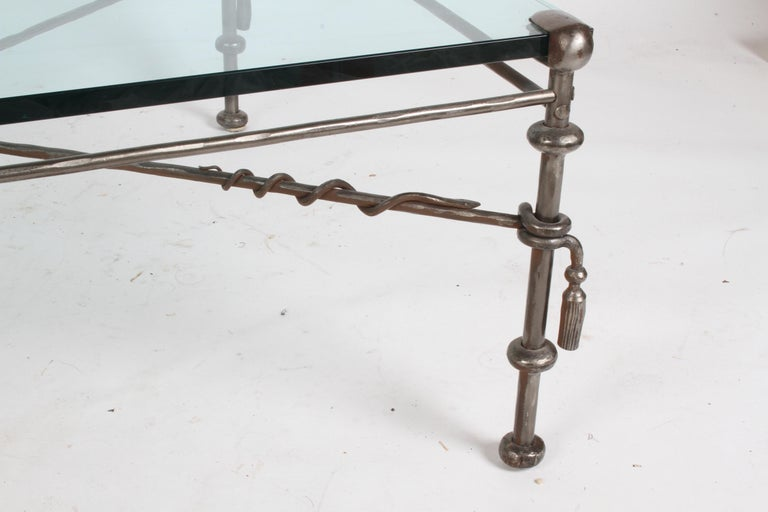 Giacometti Inspired Wrought Iron & Glass Coffee Table For Sale 7
