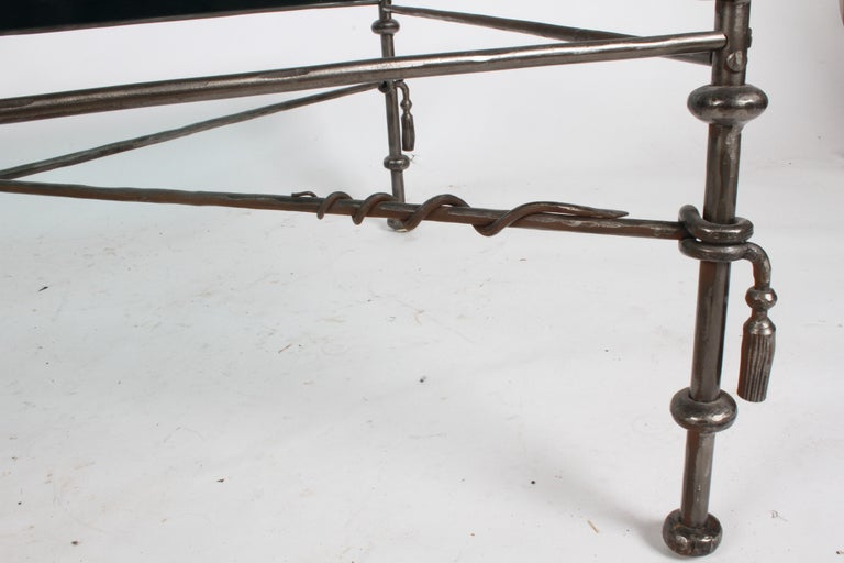 Giacometti Inspired Wrought Iron & Glass Coffee Table For Sale 11