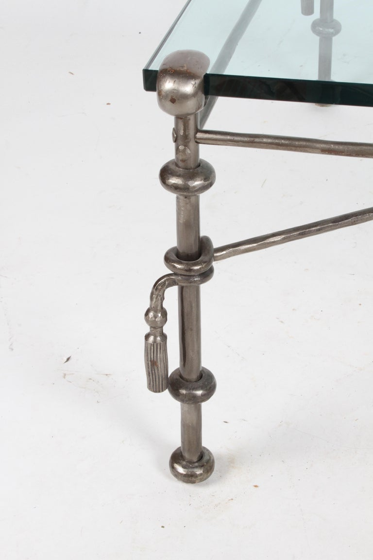 Giacometti Inspired Wrought Iron & Glass Coffee Table For Sale 9