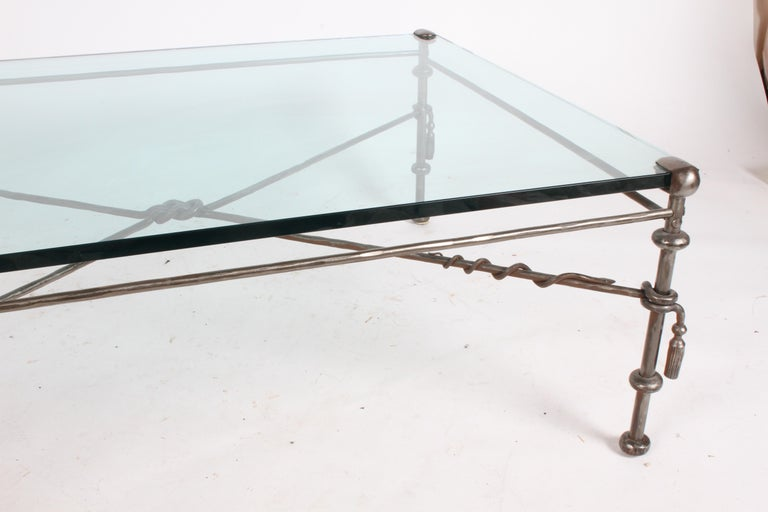 Giacometti Inspired Wrought Iron & Glass Coffee Table For Sale 8