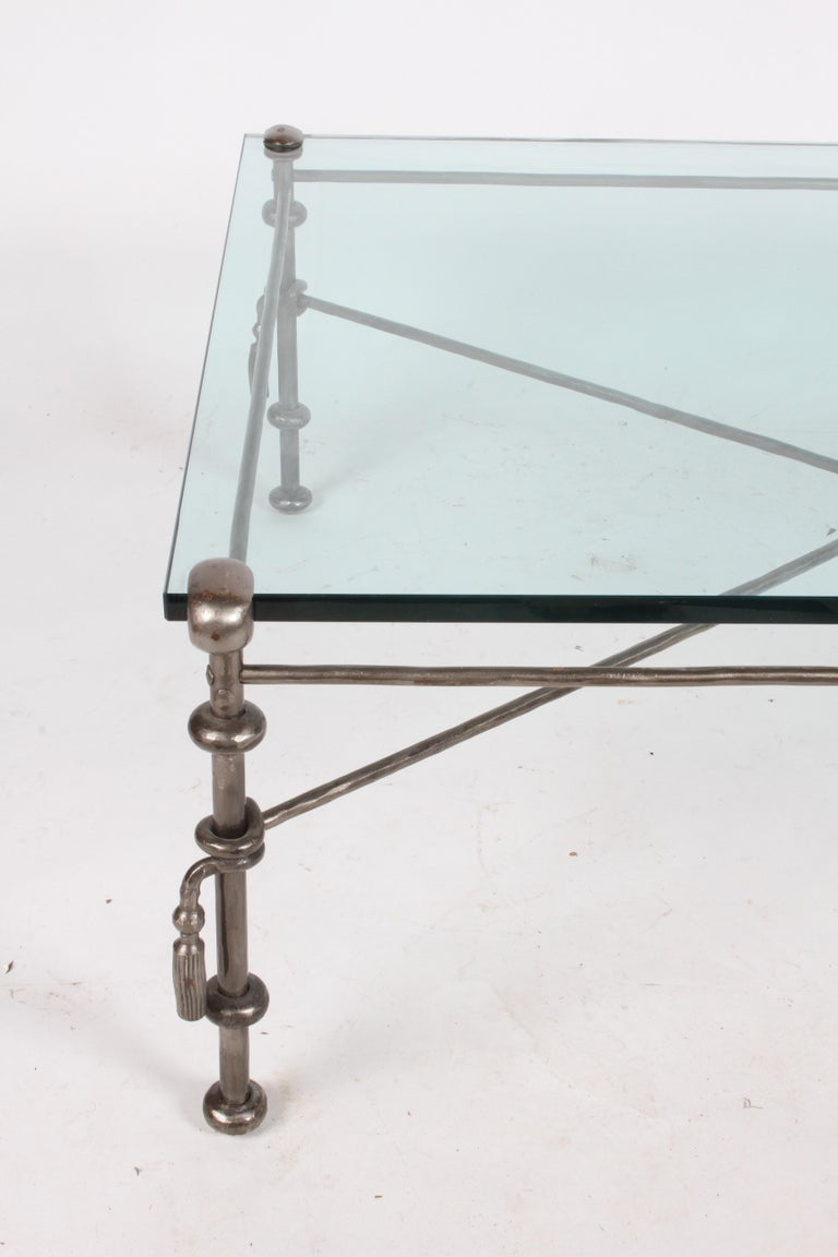 Giacometti Inspired Wrought Iron & Glass Coffee Table For Sale 14