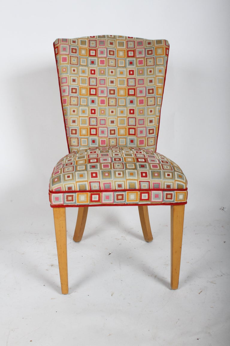 Pair of Hollywood Regency high back dining or occasional chairs with vintage Josef Albers style square geometric upholstery. All original wood finish, upholstery shows wear. Please note only one chair is show in photos. If perfection is sought, then