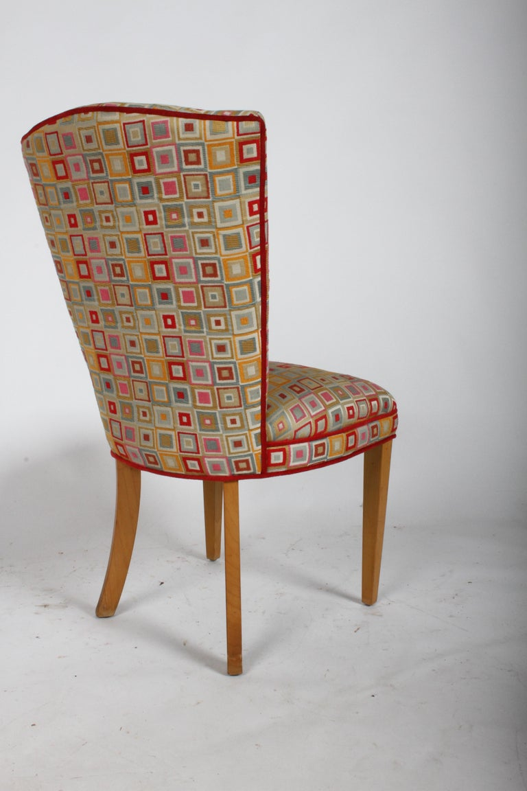 American Pair of Midcentury High Back Dining or Occasional Chairs For Sale