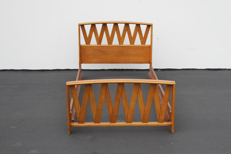 Pair of Paul Frankl for Johnson Furniture Co. midcentury twin beds / headboard and frames. Great for a guest room or kids room. Mahogany frames to be refinished prior to shipping, custom color options available, refinishing included in price.