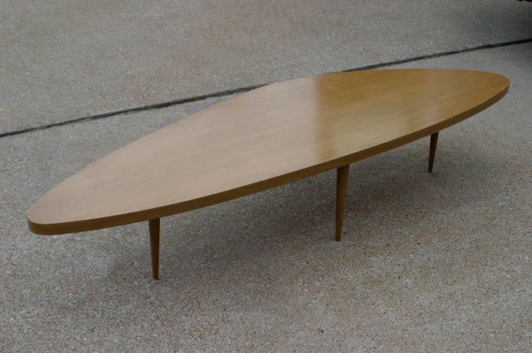 American Harvey Probber Biomorphic Surfboard Cocktail Coffee Table For Sale