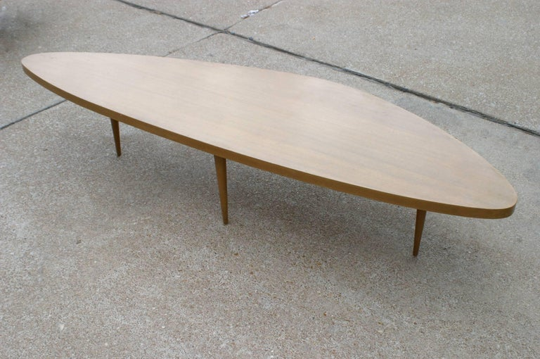 Stained Harvey Probber Biomorphic Surfboard Cocktail Coffee Table For Sale