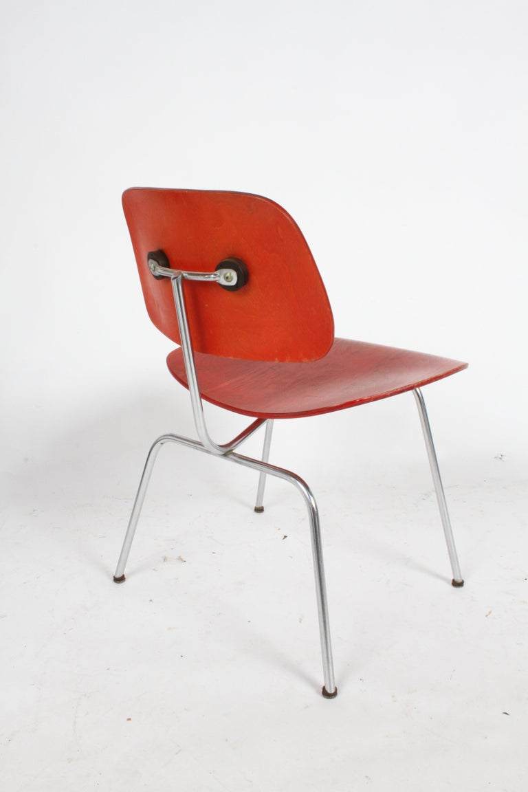 American Early Charles Eames for Herman Miller Red Aniline DCM For Sale