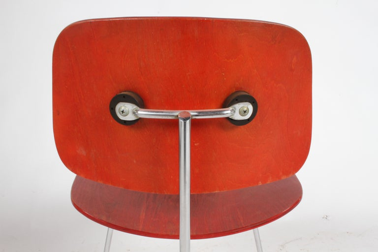 Dyed Early Charles Eames for Herman Miller Red Aniline DCM For Sale