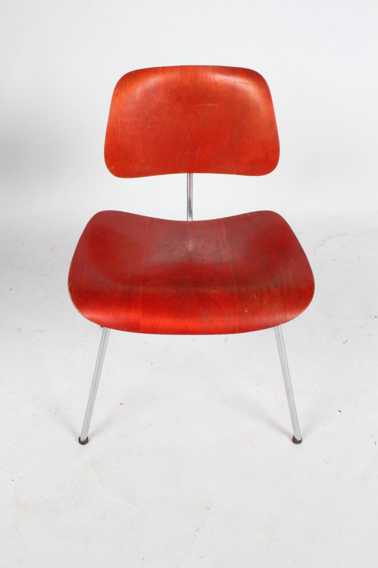 Early Charles Eames for Herman Miller Red Aniline DCM For Sale 2