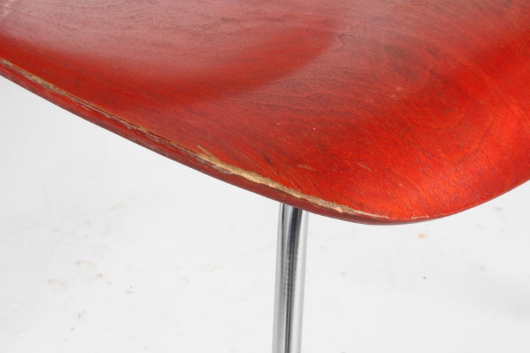 Mid-Century Modern Early Charles Eames for Herman Miller Red Aniline DCM For Sale