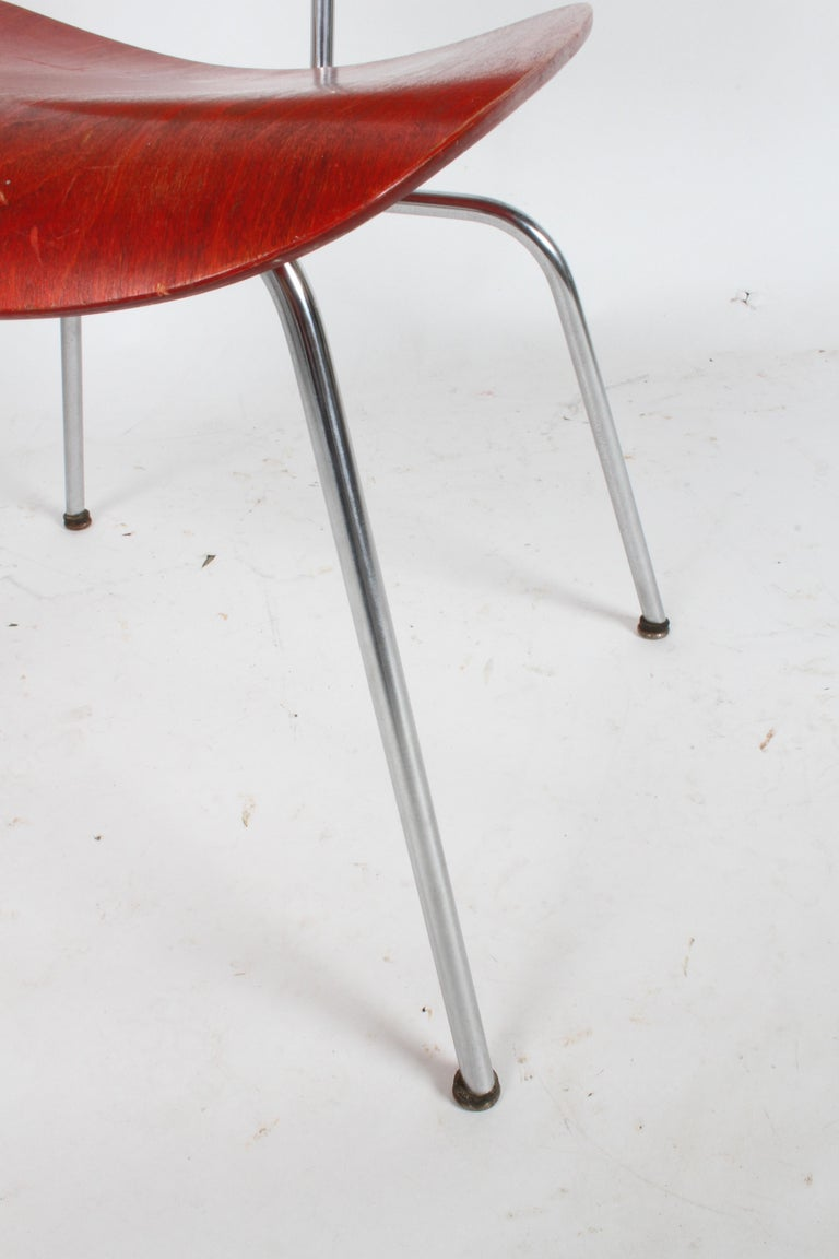 Plywood Early Charles Eames for Herman Miller Red Aniline DCM For Sale