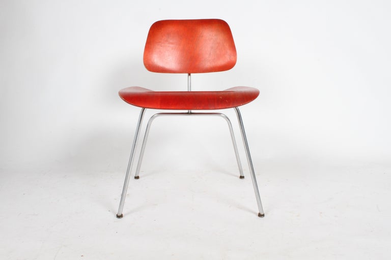 Early Charles Eames for Herman Miller Red Aniline DCM For Sale 3