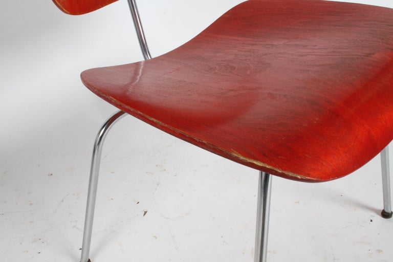 Early Charles Eames for Herman Miller Red Aniline DCM For Sale 5