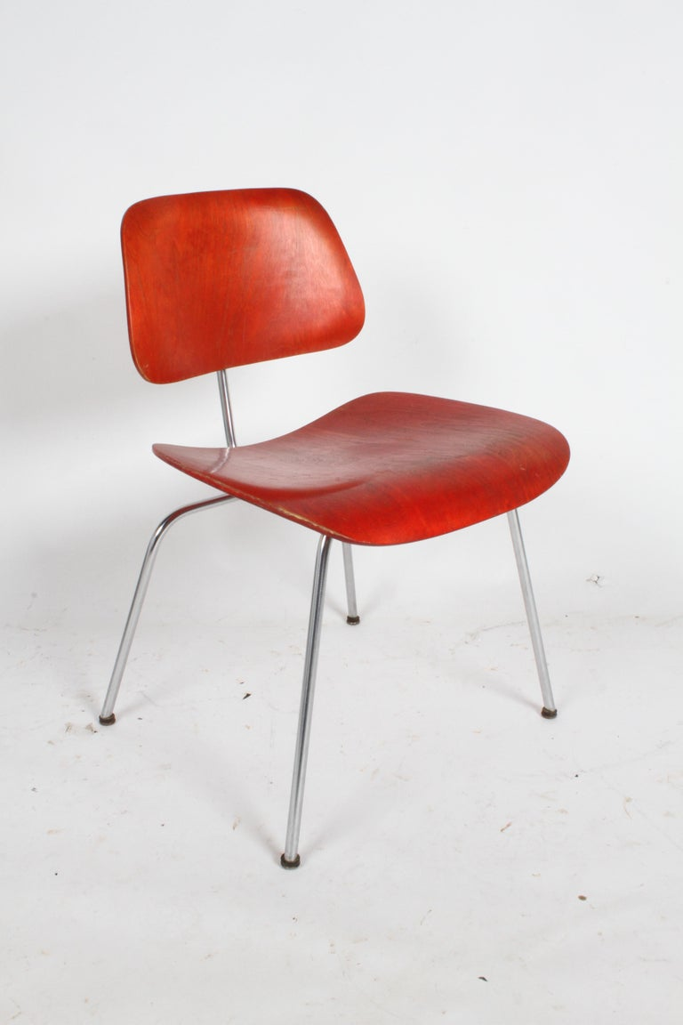 Early Charles Eames for Herman Miller Red Aniline DCM For Sale 7