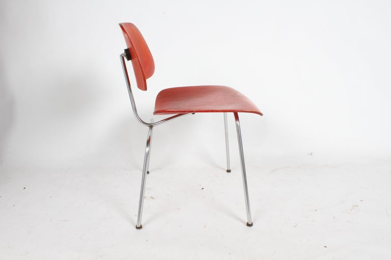 Early Charles Eames for Herman Miller Red Aniline DCM For Sale 8