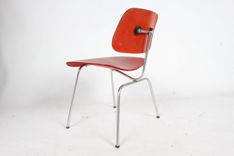 Early Charles Eames for Herman Miller Red Aniline DCM For Sale 9