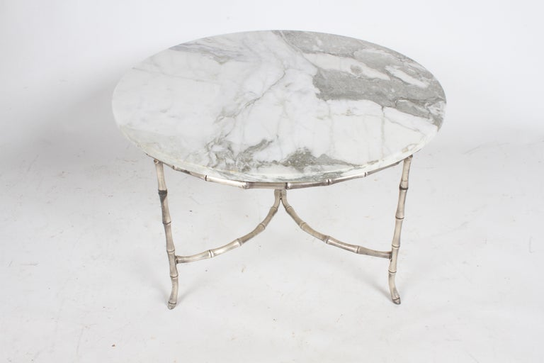 Mid-20th Century Italian Silver Plated Faux Bamboo Marble Top Coffee or Side Table For Sale