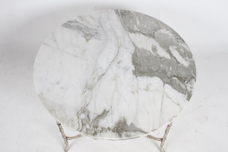 Italian Silver Plated Faux Bamboo Marble Top Coffee or Side Table For Sale 2