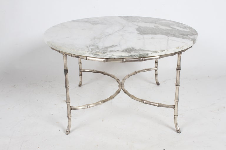 Hollywood Regency Italian Silver Plated Faux Bamboo Marble Top Coffee or Side Table For Sale