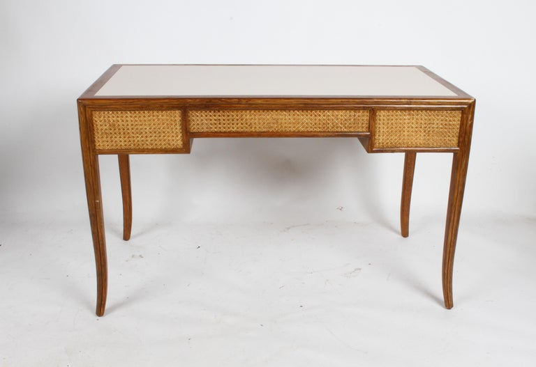Brass 1970s McGuire Furniture Rattan and Caned Desk For Sale