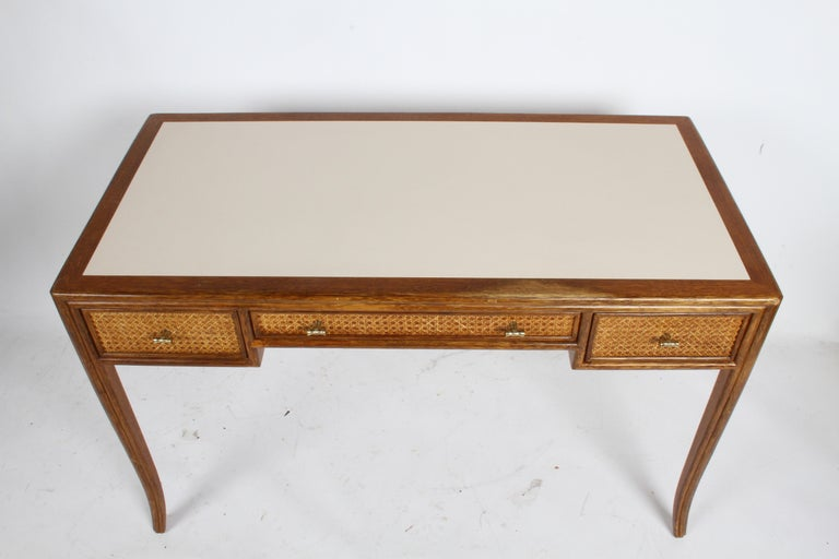 American 1970s McGuire Furniture Rattan and Caned Desk For Sale