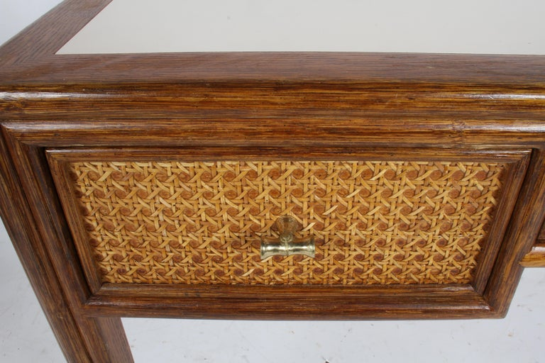 1970s McGuire Furniture Rattan and Caned Desk For Sale 2