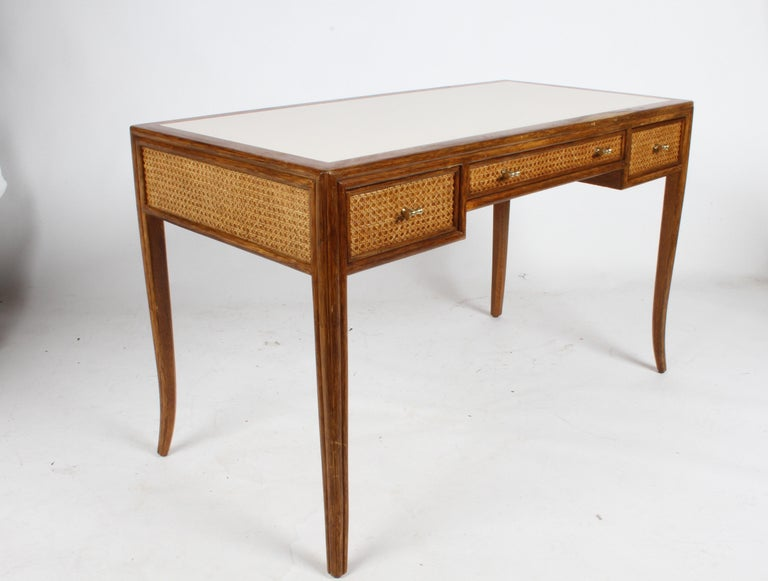 Hollywood Regency 1970s McGuire Furniture Rattan and Caned Desk For Sale