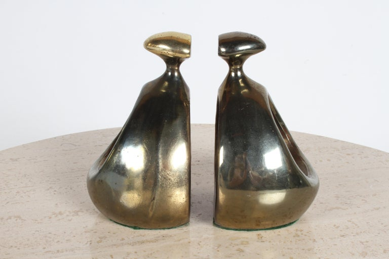 Plated Ben Seibel for Jenfred-Ware Brass Bookends For Sale