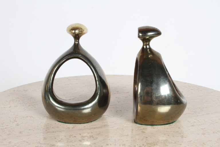 Ben Seibel for Jenfred-Ware Brass Bookends In Good Condition For Sale In St. Louis, MO