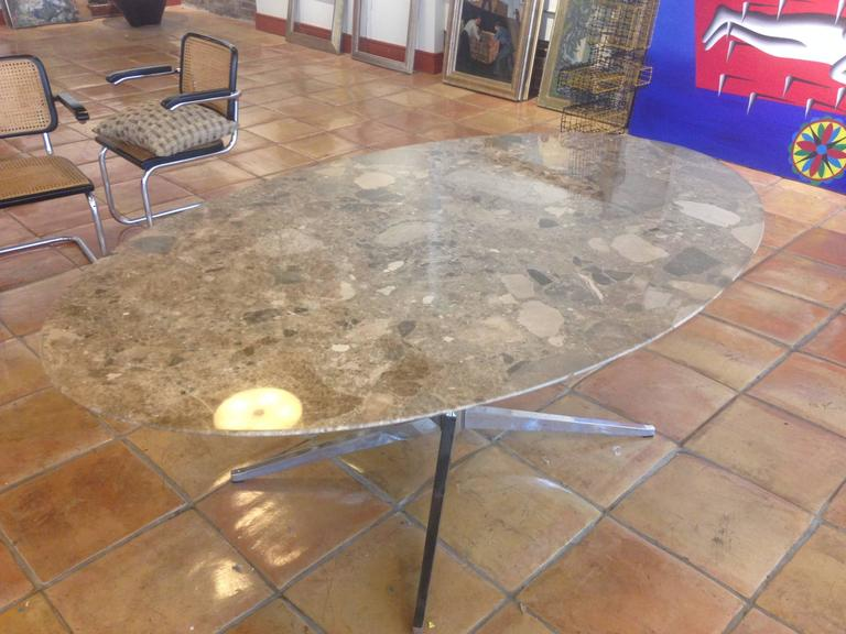 Florence Knoll Marble-Top Oval Dining Table 6