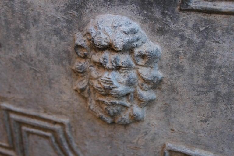 Pair of Antique English Lead Lion Head Planters For Sale 4