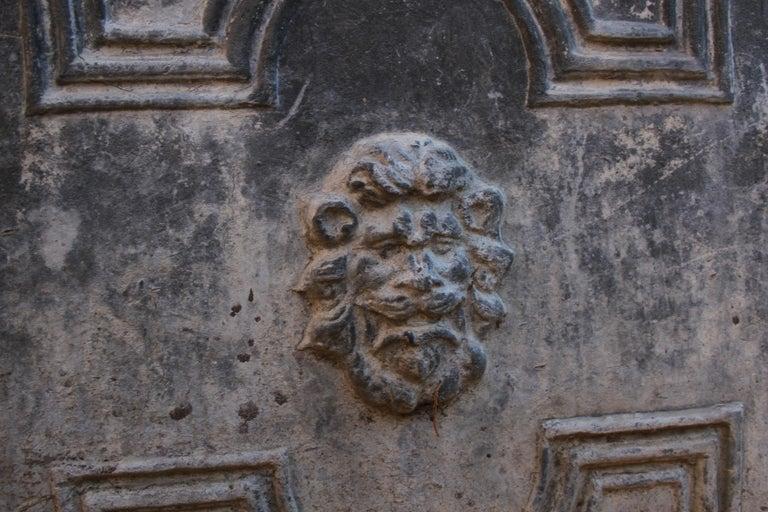 Pair of Antique English Lead Lion Head Planters For Sale 1
