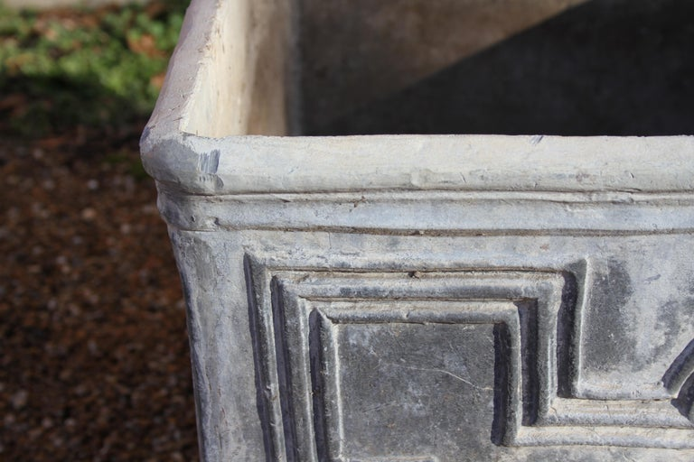 Pair of Antique English Lead Lion Head Planters In Good Condition For Sale In St. Louis, MO